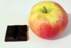Chocolate bar vs. apple; first contains twice as much calories but is significantly smaller and lighter
