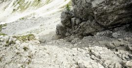 Cima del Cacciatore – Descent over the secured path is rather steep