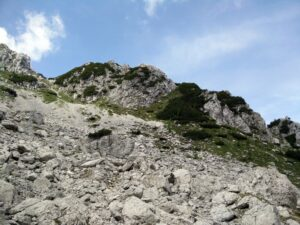 Cima del Cacciatore - We climbed the scree straight up while the path goes under the ridge
