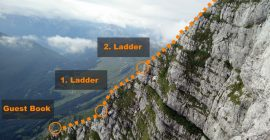 Krn Trail – Last stretch of via ferrata route runs over this ridge