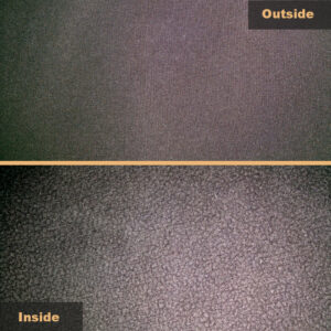 Soft Shell - Woven (DWR) fabric on the outside and fleece on the inside