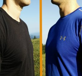 Polyester Vs. Merino Wool: Left Icebreaker Merino t-shirt, right Under Armour polyester t-shirt