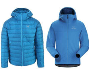 Down vs Synthetic Jackets - Left Arcteryx Cerium down jacket, right Arcteryx Atom synthetic jacket