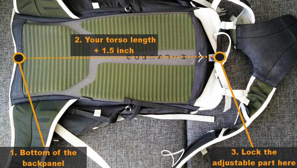 How to fit a backpack - Measure your torso length + 1-5 inch