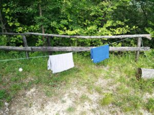 Polyester vs Merino Drying Time - Klattermusen and Woolly t-shirts are still drying