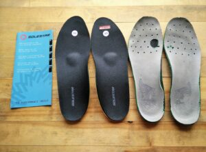 Left Solestar, right original Lowa insoles