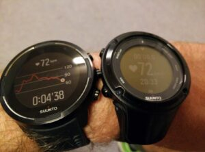 Suunto 9 Wrist-HR and Suunto Ambit 2 with heart rate belt
