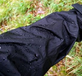 Beading effect on DWR-treated rain jacket