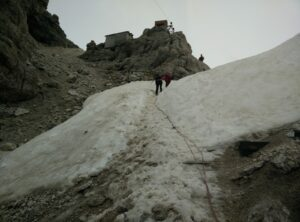 Sass Pordoi - Authorities have attached the rope as there was still some snow on this steep stretch