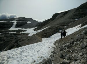 Piz Boe Trail - There was still some snow on the trail after Rifugio Forcella Pordoi