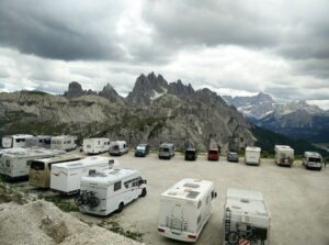 Tre Cime di Lavaredo: The parking place at Rifugio Auronzo