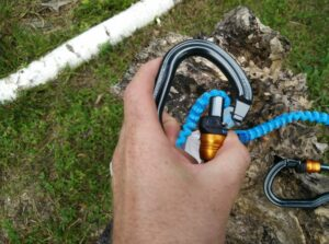 Petzl Scorpio Via Ferrat Set: Auto-lock carabiners are easy to use