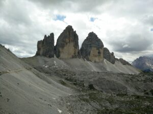 Tre Cime di Lavaredo: View on the three peaks from beneath Drei Zinnen hut