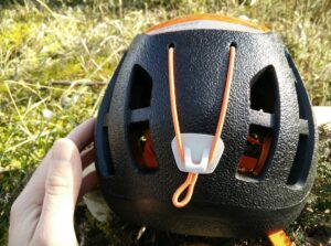 Petzl Sirocco Climbing Helmet: Large vents at the back and elastic for attaching a headlamp