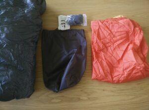 Kammok Firebelly Trail Quilt: From left to right; quilt, stuff sack, accessories and fabric footbox