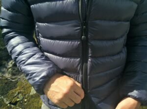 Dark Peak Nessh Down Jacket: Two-way zipper allows you to unzip the jacket from the bottom
