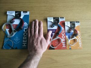 Heroclip Carabiner Hook Clip: Medium, Small and Mini from left to right