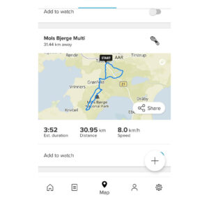 Suunto App: You can your routes in the map section and add them to the watch