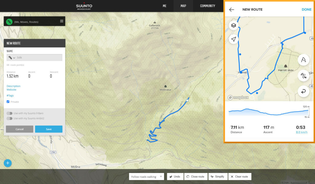Suunto App vs Movescount: Planning a route is way easier in Movescount