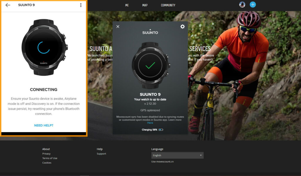 Suunto App vs Movescount: Movescount synced via USB cable which was much more reliable
