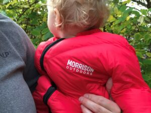 Morrison Outdoors Little Mo 40 baby sleeping bag - brand name on chest