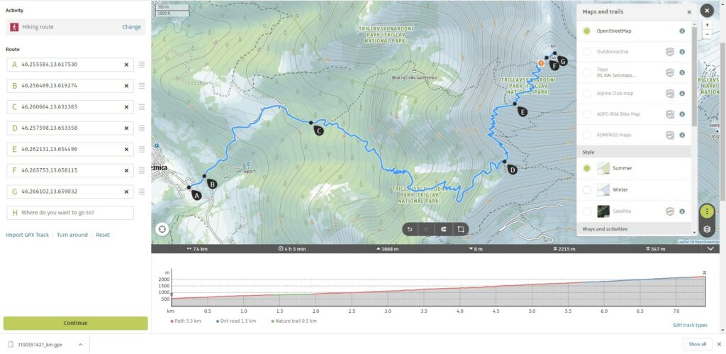 Outdoor Active Route Planner