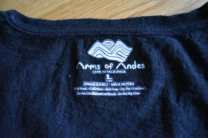 Arms of Andes Alpaca 110 T-shirt - printed washing instructions