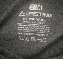 Lasting Merino 160 Atila Base Layer - printed washing instructions