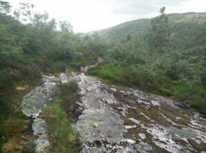 Gjuvvatnet Hiking Trail - finding the narrow path just after crossing the stream