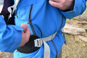 Sherpa Makalu Jacket: Hand pockets are accessible when you are wearing the hip belt
