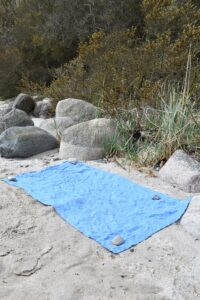 Amberoot Backpacking Towel - so lightweight it has to be weighed down