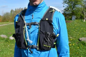 Nathan VaporAir 2.0 Hydration Vest: The two sternum straps and 8 pockets on the front side