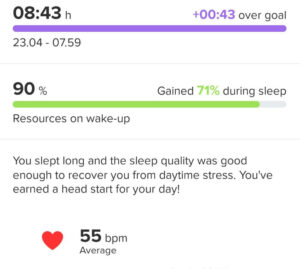 The watch detected that I slept good