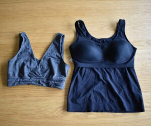 Two examples of encapsulation bras - the Boob Design bra and the FreeReign tank