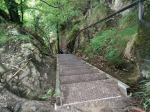 Lake Bled Osojnica hike - very steep staircase or ladder going down from Osojnica