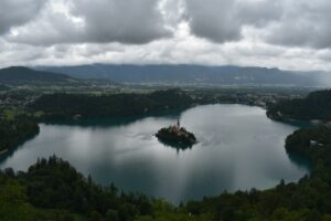 Lake Bled Osojnica hike - view on Lake Bled from Mala Osojnica
