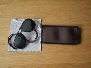 Ombraz Classic Sunglasses - microfiber cloth is attached to neoprene storage pouch